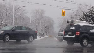During bad weather conditions, cars are following too closely in Scarborough